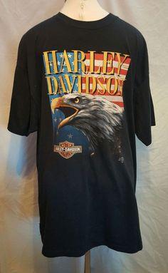 Harley Davidson Vintage 1991 3D Emblem  Richmond Hill GA T-Shirt Black Size 3X #HarleyDavidson #GraphicTee