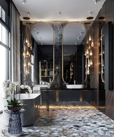 luxury home accents home accents homeaccents Luxurious covering of semiprecious stone, floor mirrors and even a shelving for books.