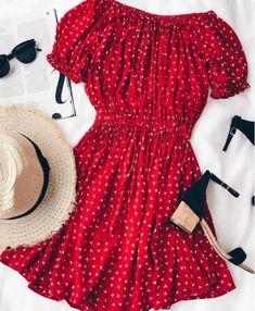 Faithfull the Brand Jardim Schulterfreies Kleid mit rotem Aufdruck Source by safiravonseggern Floral Dresses Trendy Dresses, Cute Dresses, Casual Dresses, Casual Outfits, Casual Heels, Beautiful Dresses, Red Dress Casual, Floral Dresses, Casual Wear