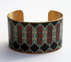Moroccan Mosaic Brass Cuff Bracelet Red Black by BonnyandRead