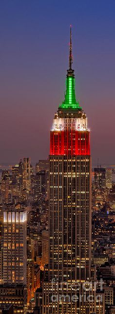 Top Of The Rock in Rockefeller Center in New York City of the Empire State Building.@ Night
