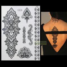 1 PC Moda Flash Wodoodporna Tatuaż Kobiety Czarna Henna BJ016 Jewel Sexy Koronki Kwiat Totem Arm Tymczasowe Tattoo Body Art naklejki