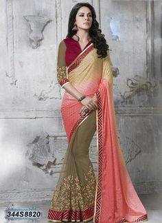 Shade Beige  Color Faux Chiffon  Pallu saree   #Sarees #sari #Fashion #Looking #Popular #Offers #Deals #Zinnga #zinngafashion #beauti #Beautiful #Design #Popular #New #Collection