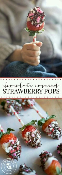 Chocolate Covered Strawberry Pops - sweet treats that are perfect for parties and easy to make! These Chocolate Covered Strawberry Pops are easy to make and such a fun treat idea for Valentine's Day! Yummy Treats, Delicious Desserts, Sweet Treats, Dessert Recipes, Yummy Food, Chocolate Covered Strawberries, Chocolate Dipped, Chocolate Pops, Chocolate Covered Treats