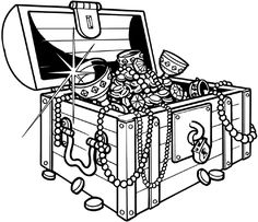 Sunken Treasure Chest Coloring Page