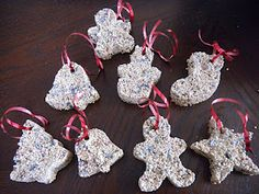 Birdseed ornaments: bird seed, water, flour, cookie cutters, straws and ribbon Christmas Deco, Christmas Holidays, Christmas Ornaments, Christmas Stuff, Winter Holidays, Happy Holidays, Merry Christmas, Homemade Ornaments, Homemade Christmas