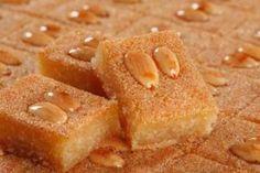 MPOWER/// Namoura - Lebanese Semolina Cake Recipe - My favorite Lebanese dessert! Lebanese Desserts, Lebanese Cuisine, Lebanese Recipes, Armenian Recipes, Armenian Food, Arabic Dessert, Arabic Sweets, Arabic Food, Treats
