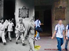 Dito, Noon: Japanese soldiers exit the UST Main Building Manila after a prisoner exchange negotiation with the Americans, post-Battle of Manila, 1945 x UST students on the move through the same northwest door, facing the Quadricentennial Park, 2020 #kasaysayan Prisoner, Present Day, Manila, North West, Soldiers, Philippines, Battle, Students, Japanese
