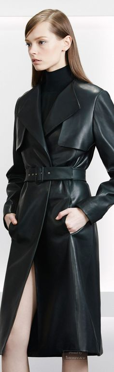 Jason Wu Pre-Fall 2015 Fashion Show - Mina Cvetkovic Jason Wu, Fashion Week, Look Fashion, Fashion Show, Fashion Design, Fashion Trends, Trent Coat, Long Leather Coat, Black Leather