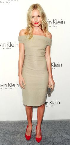 Kate Bosworth pairing a tan dress with touches of red.