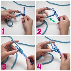 Voici une méthode magique pour débuter un projet de crochet : le  Foundation + «nom de la Maille» ou «Chainless crochet». Il s'agit d'une  f... Crochet Basics, Diy Crochet, Crochet Stitches, Crochet Hooks, Tutorial Crochet, Crochet 101 Learning, Double Crochet, Single Crochet, Crochet Supplies