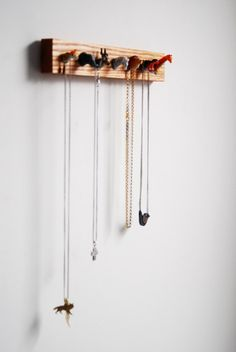 Necklace storage - mini taxidermy animal heads. Haha this is terrible but it would be fun to do with dinosaurs or something