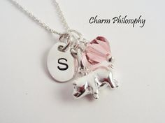 Personalized Pig Charm Necklace | 925 Sterling Silver Jewelry | Custom Handstamped Initial | Swarovski Birthstone Bead | Pig Pendant by Charm Philosophy on Etsy