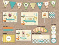 Woodland Animals First Boy Birthday Package, CUSTOM, DIY Printable // cute for Ethans first birthday