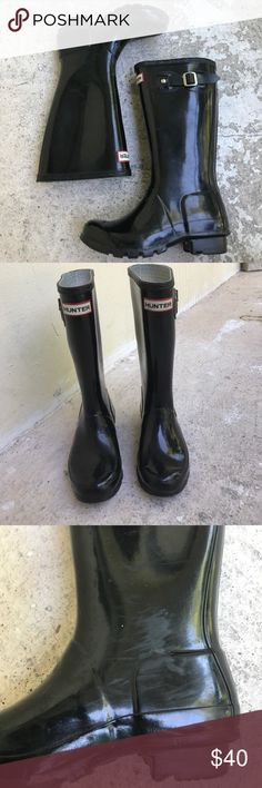 Kids Hunter Boots Thesevblack high-gloss boots are in good condition. 2M/3F soles are good Hunter Boots Shoes Rain & Snow Boots
