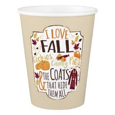 I Love Fall Paper Cups - thanksgiving day family holiday decor design idea