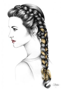 Elisa x Adéli Paris by Hélène Cayre Fashion Illustration Sketches, Art Et Illustration, Fashion Sketches, Art Sketches, Pencil Art Drawings, Realistic Drawings, Cool Drawings, Hair Sketch, How To Draw Hair
