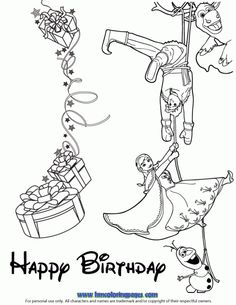 Cast From Frozen Wishes You Happy Birthday Coloring Page
