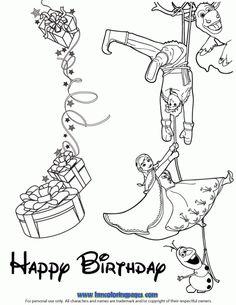 Disneys Frozen Cast Happy Birthday Wishes Coloring Page  Disney