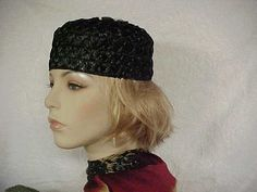 Black straw pill box hat with decoration on top fits by designer2, $22.00