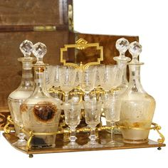 French Inlaid Tantalus Set | From a unique collection of antique and modern barware at https://www.1stdibs.com/furniture/dining-entertaining/barware/