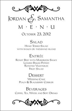 wedding menu layout