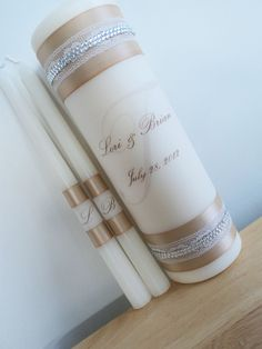 Unity Candle Set,---- I can make this-- only eggplant ribbon Wedding Sand, Wedding Unity Candles, Fall Wedding, Friend Wedding, Wedding Stuff, Catholic Wedding, Personalized Candles, Wedding Inspiration, Wedding Ideas
