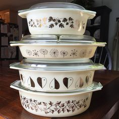Ivory and Gold Pyrex