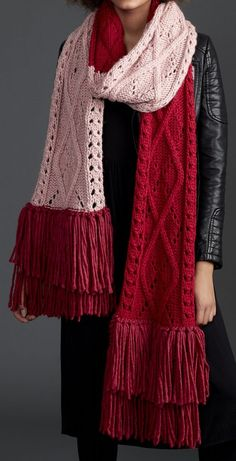 Free Knitting Pattern for Argyle Cable Lace Knit Super Scarf - Three colors of yarn, a giant argyle inspired designed, and fringe make a colorful statement piece. Approx 12″ [30.5 cm] wide x 100″ [254 cm] long, excluding fringe. Designed by Bernat.