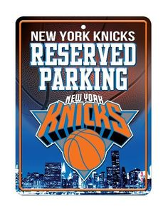 NBA New York Knicks Parking Sign by Rico. $10.26. Measures 8.5-inches-by-11-inches. 4-color process graphics. Made in the USA. Embossed metal. Park your spirit with Rico Tag's 8.5 -inch-by-11-inch officially licensed Parking Sign.  Embossed metal parking sign is printed with bold 4-color process graphics.  Hang in the garage or in the house!