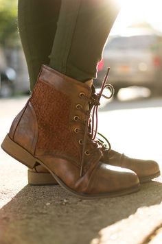 Granny Grunge Lace Up Crochet Combat Boots - Brown from Boots at Lucky 21