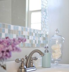 Mosaic Tile Bathroom Mirror....beachy and cottage feel.