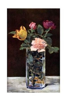 Still Life with Roses and Tulips in a Dragon Vase, 1882 Giclee-trykk av Edouard Manet hos AllPosters.no