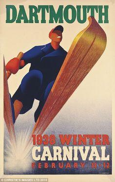 The Famous Dartmouth Winter Carnival vintage ski poster. Vintage Ski Posters, New York, Dartmouth, Painting Edges, Stretched Canvas Prints, Vintage Art, Vintage Ephemera, Vintage Style, Skiing