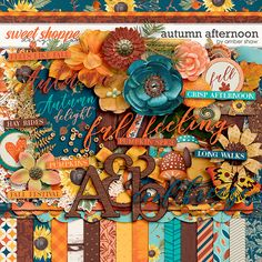 Digital Scrapbook Kit, Autumn Afternoon by Amber Shaw