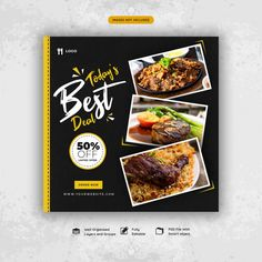 Food social media post template Premium ... | Free Psd #Freepik #freepsd #freebanner #freefood #freebusiness #freesale Social Media Art, Social Media Banner, Social Media Branding, Social Media Template, Social Media Design, Food Graphic Design, Food Poster Design, Food Menu Design, Food Packaging Design