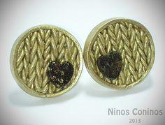 Pendientes de botón - Pendientes Oro Tejido - hecho a mano por NinosConinos en DaWanda