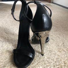 55a862edbf Versace Shoes | Versace Heels, Never Worn | Color: Black/Silver | Size