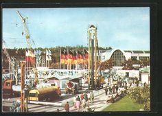old postcard: AK Brno 1965, Internationale Messe, Mezinárodni Veletrh, Baumaschinen und Baugeräte auf der Ausstellung