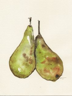 Two Pears, Original watercolor painting - $35.00, via Etsy.