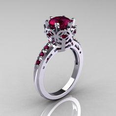 Modern Classic 14K White Gold 1.5 Carat Rhodolite Garnet Crown Engagement Ring AR128-14WGRGG. $1,329.00, via Etsy.