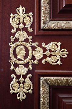 High-end wooden door with decorative bronzes Timber Door, Wooden Doors, Traditional Windows, Interior Doors, Joinery, Carpentry, Restoration, Bronze, Luxury