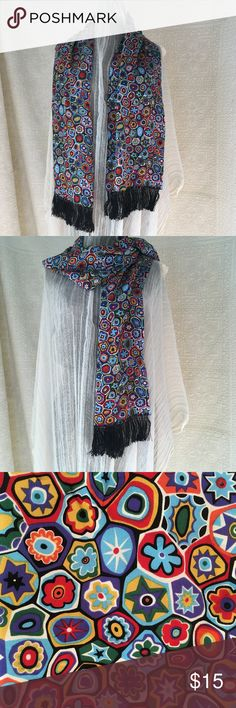 Rectangular MultiColored Polyester Scarf Women Super Cute Double Sided Scarf  Polyester with Great Print Black Hand Tied Fringe  21 x 54 (excluding fringe)  Bin 0146 Unknown Accessories Scarves & Wraps