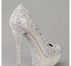 Prom shoes sparkly silver pretty high heels!