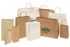 White and Kraft eco-chic paper shopping bags are perfect for any store! Express your store's image and have your brand logo printed