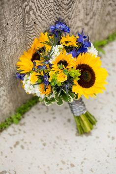 Sunflower  & Blue Iris Bouquet Sunflower& Navy Blue Classic Summer Wedding Photographer:  Jeannine Marie Photography