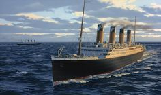 "Painting by Ken Marschall ~ ""In their only encounter at sea, the Titanic passes her sister ship, the Olympic, off Portland on the evening of April 3, 1912. En route from Belfast following her trials, the Titanic would dock in Southhampton that midnight and begin preparations for her maiden voyage."" from Titanic: An Illustrated History"