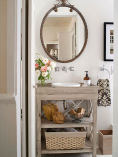 We love this open vanity! More of our favorite bathroom ideas here: http://www.bhg.com/bathroom/remodeling/projects/weekend-bathroom-refreshes/?socsrc=bhgpin062314narrowescapepage=13