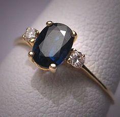 Vintage Sapphire Diamond Wedding Ring Estate Engagement $495 dude fucking yes I want my birthstone