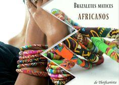 Como hacer brazaletes de trozos de tela con matices africanos